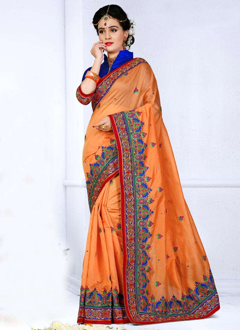 Awesome Embroidered Work Trendy Saree