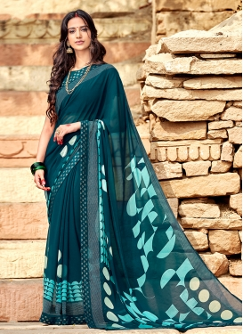 Awesome Teal Printed Georgette Casual Saree