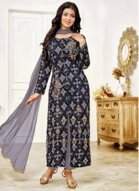 Ayesha Takia Black and Grey Pant Style Classic Salwar Suit For Ceremonial