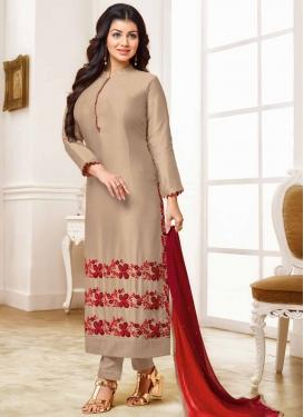 Ayesha Takia Embroidered Work Beige and Red Pant Style Pakistani Salwar Kameez