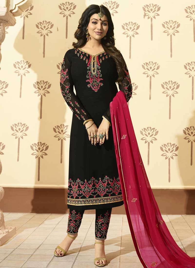 Ayesha Takia Embroidered Work Faux Georgette Pant Style Straight Suit
