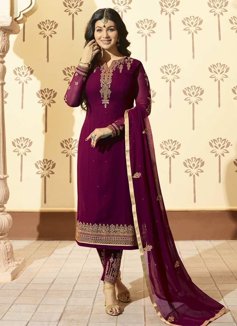 Ayesha Takia Faux Georgette Embroidered Work Pant Style Salwar Kameez