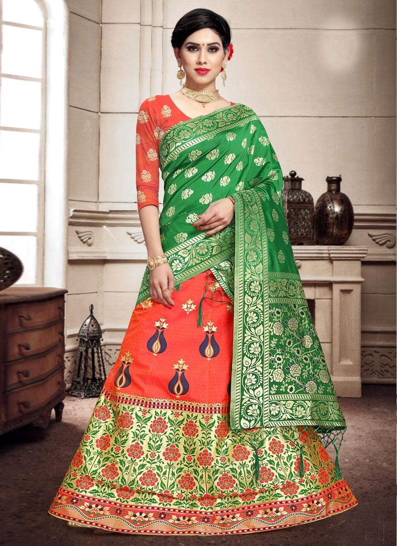 Banarasi Silk A - Line Lehenga