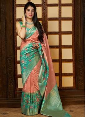 Banarasi Silk Aqua Blue and Peach Designer Traditional Saree