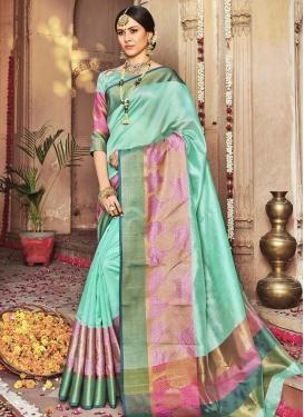 Banarasi Silk Aqua Blue and Pink Designer Contemporary Saree