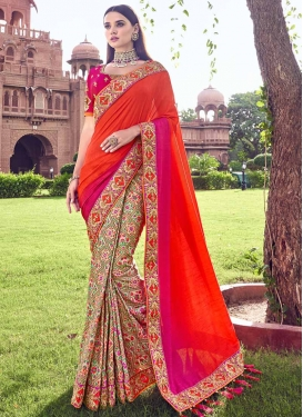 Banarasi Silk Beads Work Beige and Orange Half N Half Saree