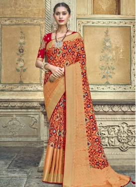 Banarasi Silk Beads Work Coral and Red Traditional Saree
