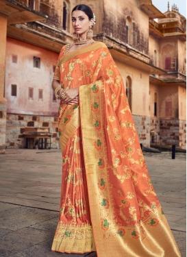 Banarasi Silk Beads Work Designer Contemporary Saree