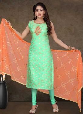 Banarasi Silk Beads Work Readymade Churidar Salwar Suit