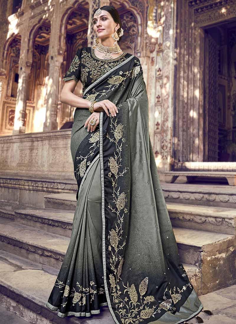 Banarasi Silk Black and Grey Beads Work Contemporary Style Saree