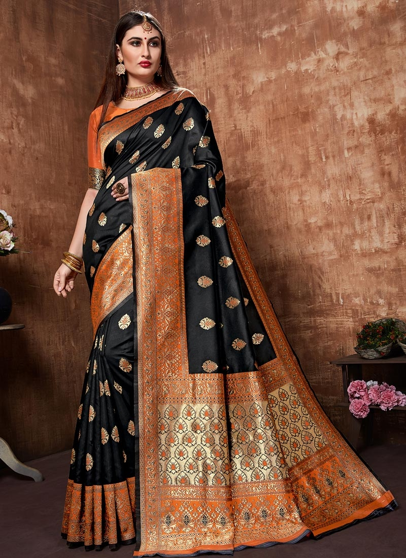 Banarasi Silk Black and Orange Woven Work Classic Saree