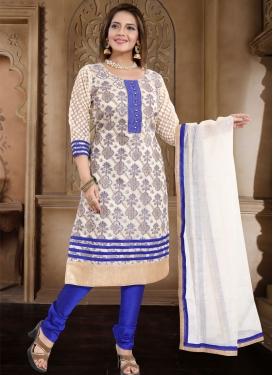 Banarasi Silk Blue and Off White Lace Work Readymade Churidar Salwar Suit