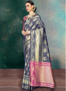 Banarasi Silk Classic Saree in Navy Blue