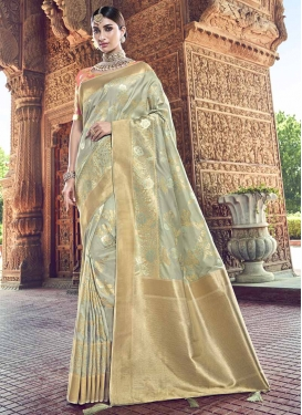Banarasi Silk Contemporary Saree For Festival