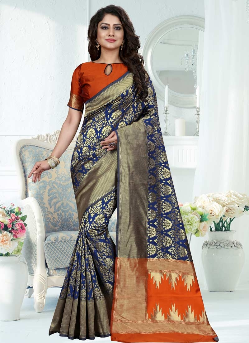 Banarasi Silk Contemporary Style Saree For Festival