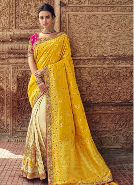Banarasi Silk Cream and Mustard Half N Half Trendy Saree