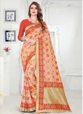 Banarasi Silk Cream and Red Lace Work Classic Saree