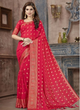 Banarasi Silk Crystal Work Trendy Classic Saree