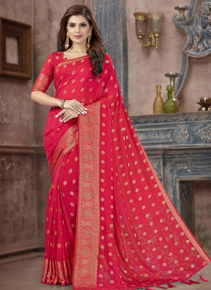 Banarasi Silk Crystal Work Trendy Classic Saree
