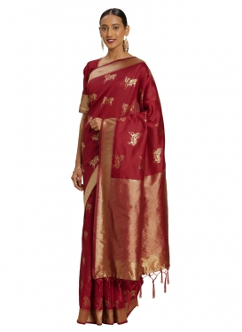 Banarasi Silk Designer Contemporary Saree For Casual