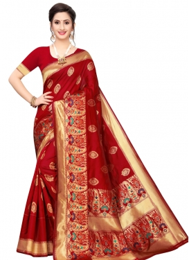 Banarasi Silk Designer Contemporary Saree For Casual