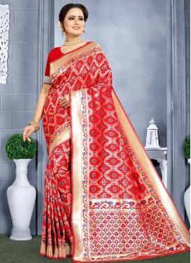 Banarasi Silk Designer Contemporary Style Saree For Festival