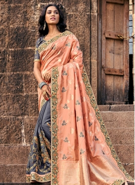 Banarasi Silk Designer Half N Half Saree For Festival