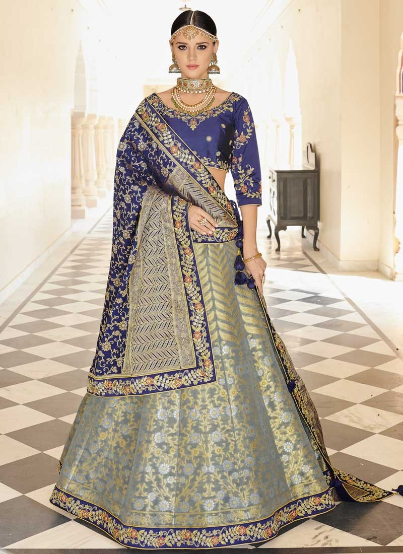 Banarasi Silk Embroidered Work A - Line Lehenga