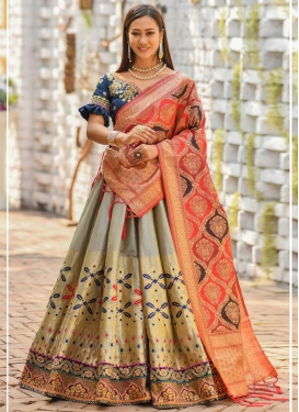 Banarasi Silk Embroidered Work A - Line Lehenga