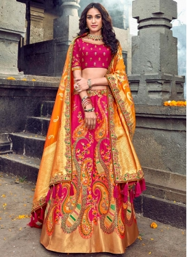 Banarasi Silk Embroidered Work A Line Lehenga Choli