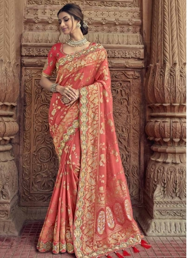 Banarasi Silk Embroidered Work Contemporary Style Saree