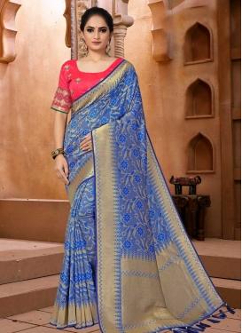 Banarasi Silk Embroidered Work Designer Contemporary Saree