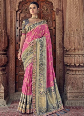 Banarasi Silk Embroidered Work Designer Contemporary Style Saree