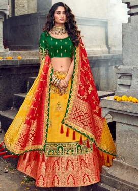 Banarasi Silk Embroidered Work Green and Red A Line Lehenga Choli