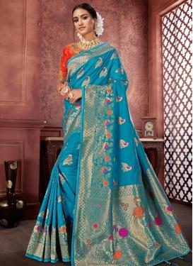 Banarasi Silk Embroidered Work Traditional Designer Saree