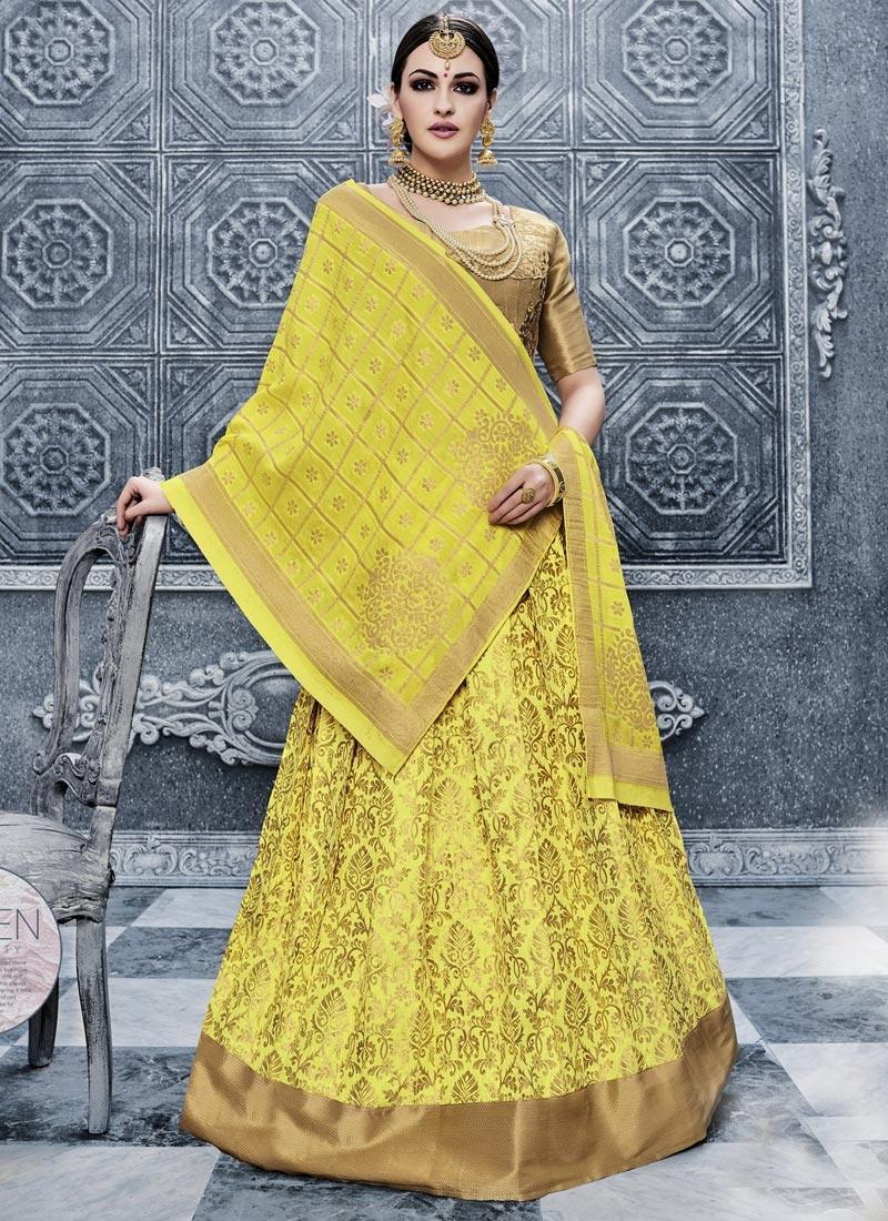 Banarasi Silk Embroidered Work Trendy A Line Lehenga Choli
