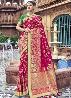 Banarasi Silk Fuchsia and Green Trendy Classic Saree