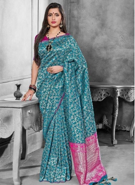 Banarasi Silk Fuchsia and Teal Woven Work Contemporary Style Saree