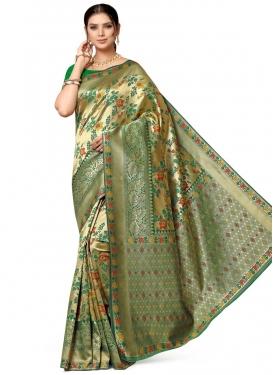 Banarasi Silk Gold and Green Classic Saree