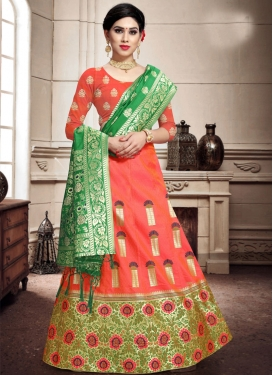 Banarasi Silk Green and Orange A - Line Lehenga