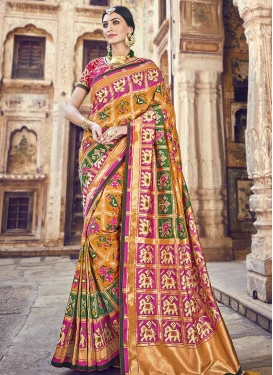 Banarasi Silk Green and Orange Classic Saree