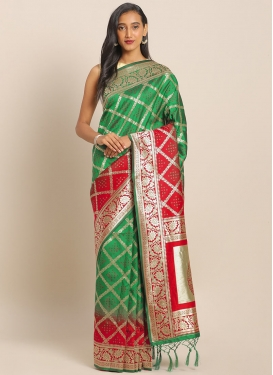 Banarasi Silk Green and Red Trendy Classic Saree For Festival