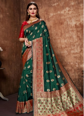 Banarasi Silk Green and Red Woven Work Traditional Saree