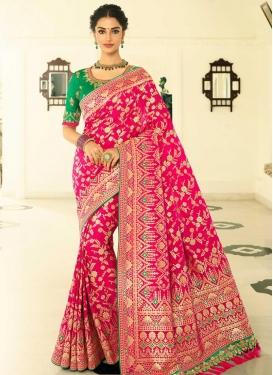 Banarasi Silk Green and Rose Pink Embroidered Work Classic Saree