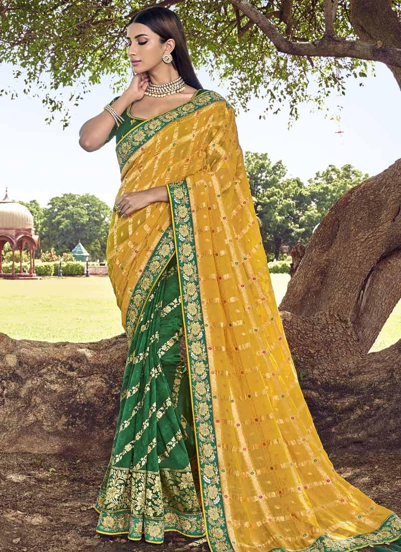 Banarasi Silk Green and Yellow Half N Half Trendy Saree For Bridal