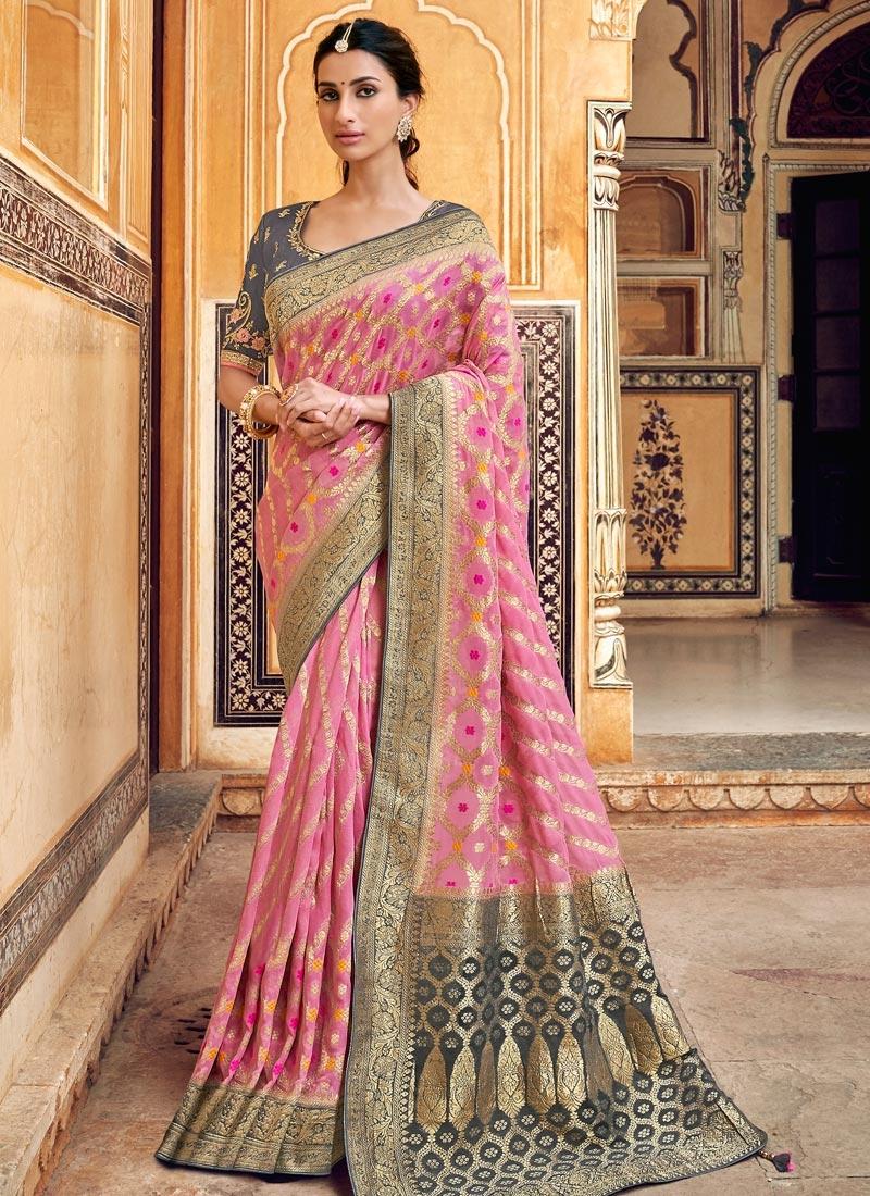 Banarasi Silk Grey and Pink Beads Work Traditional Saree