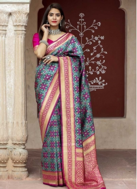 Banarasi Silk Grey and Rose Pink Designer Contemporary Saree