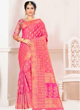 Banarasi Silk Hot Pink and Rose Pink Classic Saree For Ceremonial