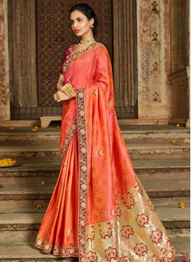Banarasi Silk Maroon and Orange Embroidered Work Trendy Classic Saree