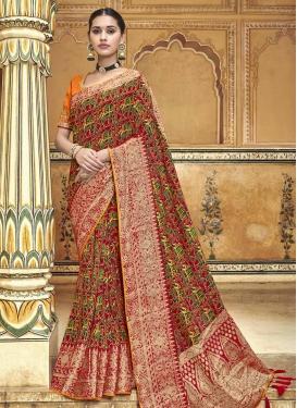 Banarasi Silk Maroon and Orange Traditional Designer Saree